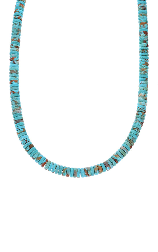 8mm Turquoise Rondelle Necklace