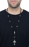 Rosary w/Onyx Beads, Skull and Traditional Cross