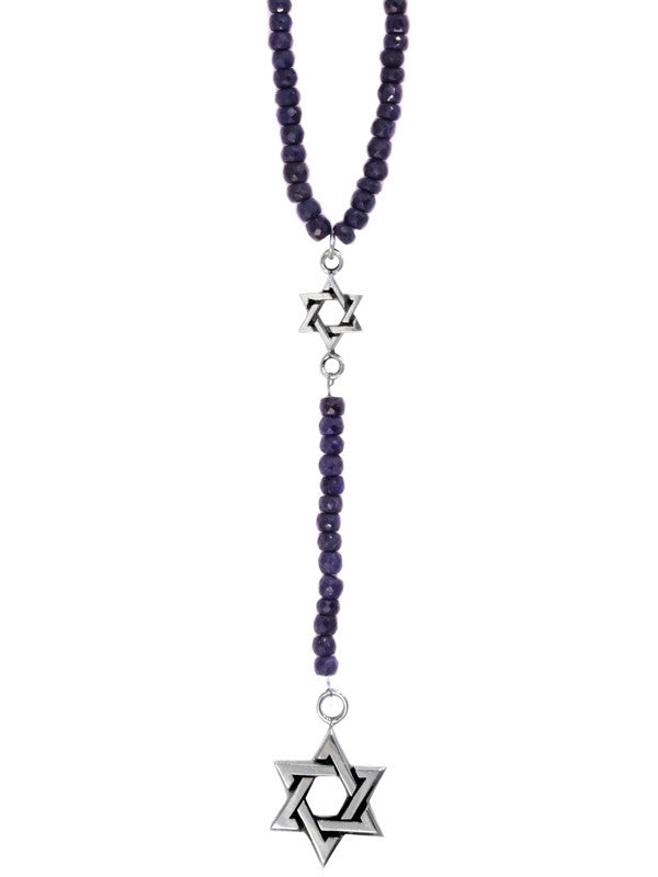 5mm Sapphire Rosary w/ small and Large Star of David