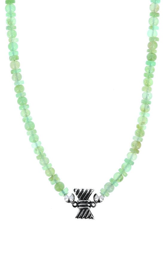 Chrysoprase Necklace with Silver Ribbed Bow