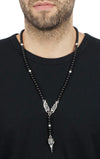 king baby men's skull rosary necklace