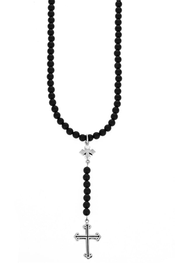 king baby Onyx Rosary with MB Cross and Traditional Cross