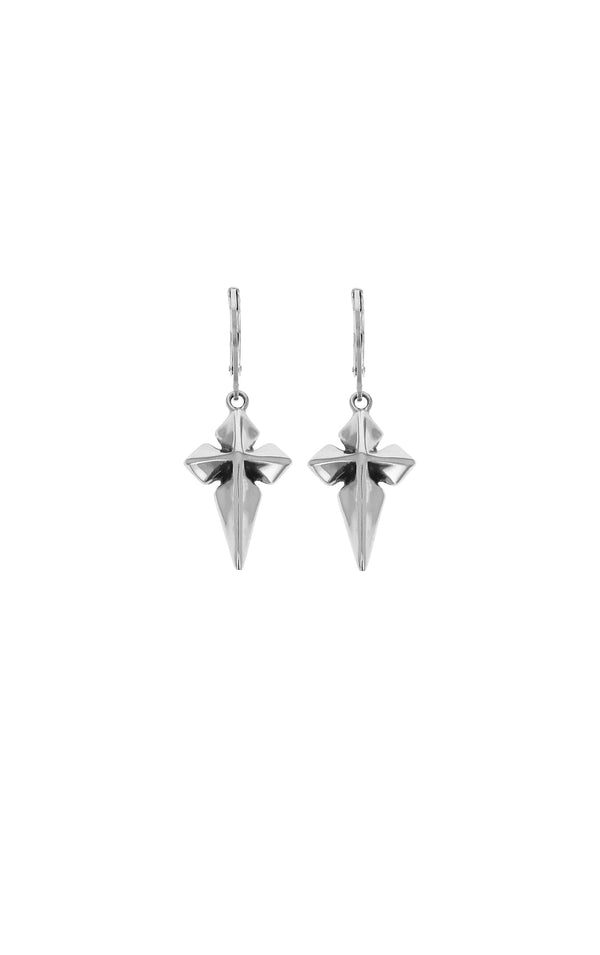 King Baby Pointed MB Cross Leverback Earrings