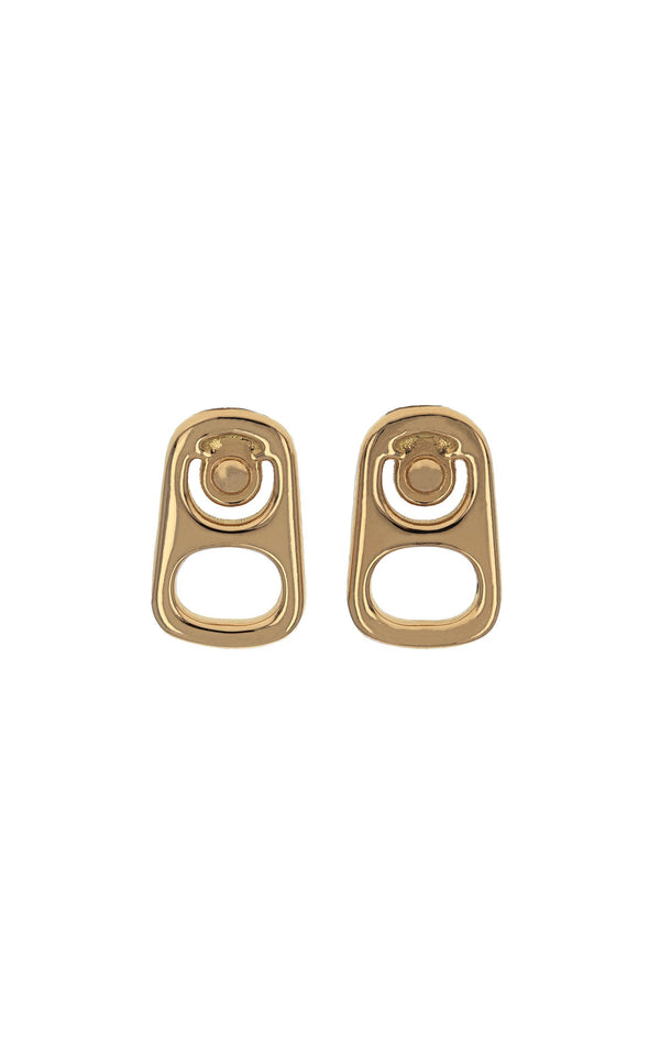 Large 18K Gold Pop Top Stud Earrings