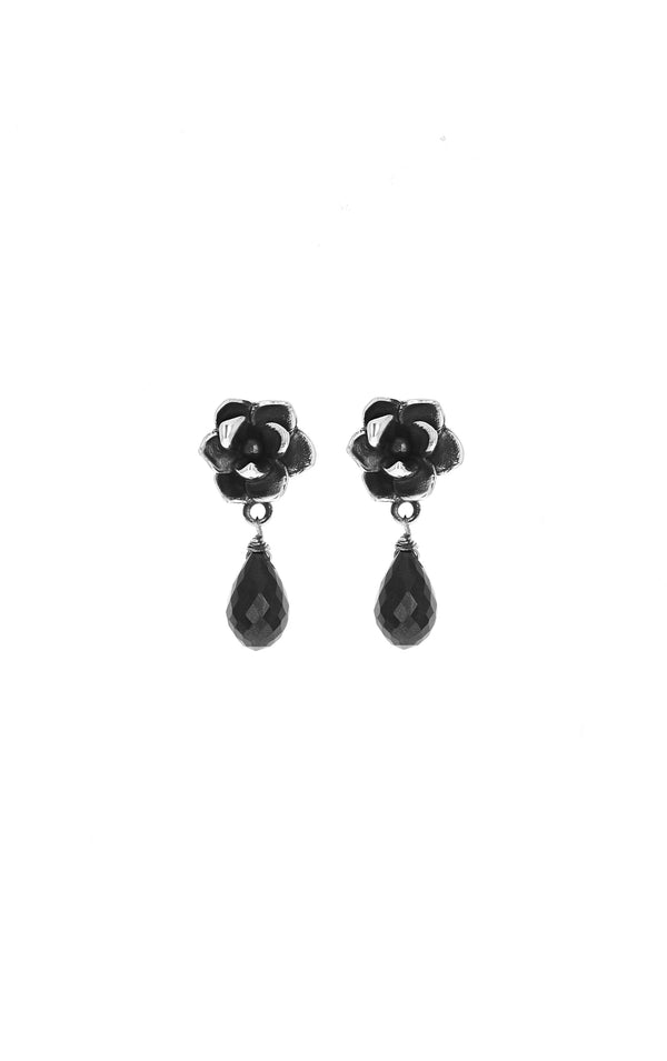 king baby womens rose earrings with black spinel tear drop