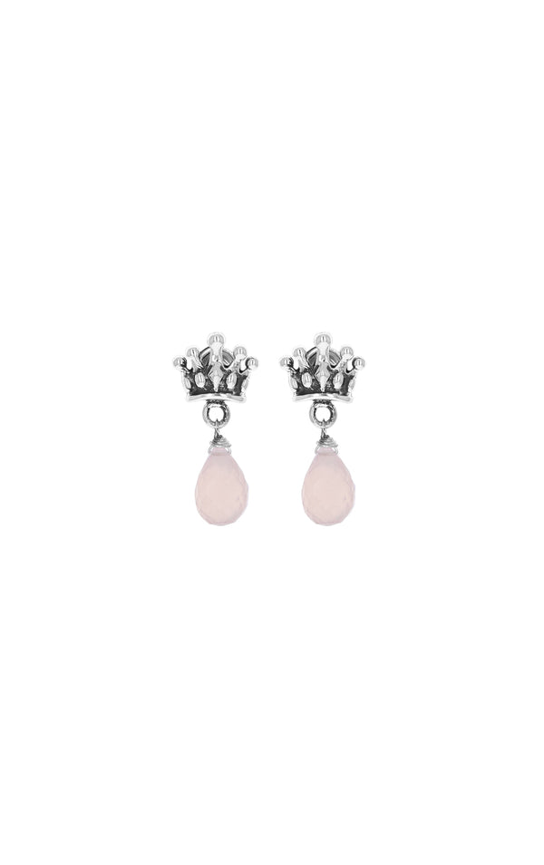 king baby womens crowned heart earrings with rose quartz tear drop
