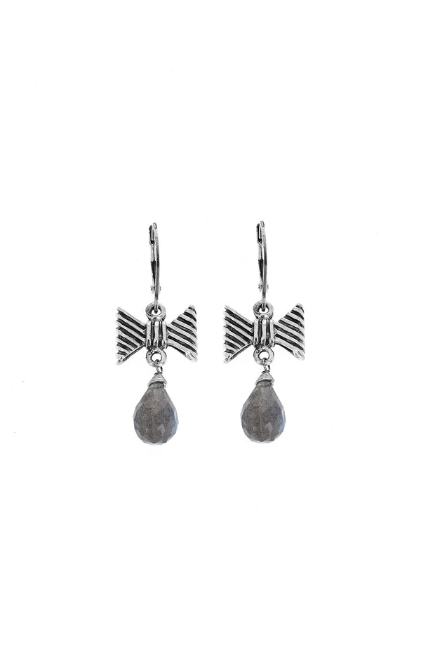 king baby womens leverback bow earrings with labradorite tear drop