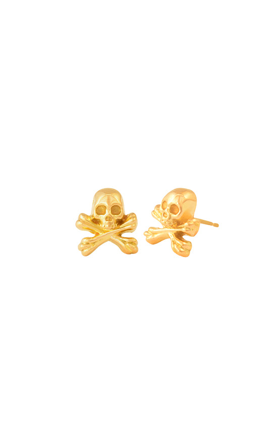 18K gold Skull and Crossbones Post Earrings