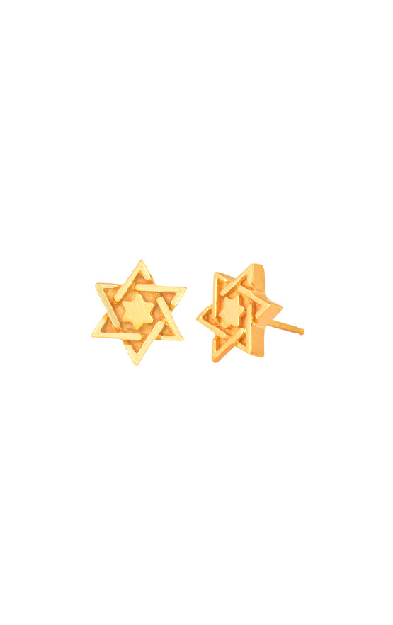 18K Gold Star Of David Post Earrings