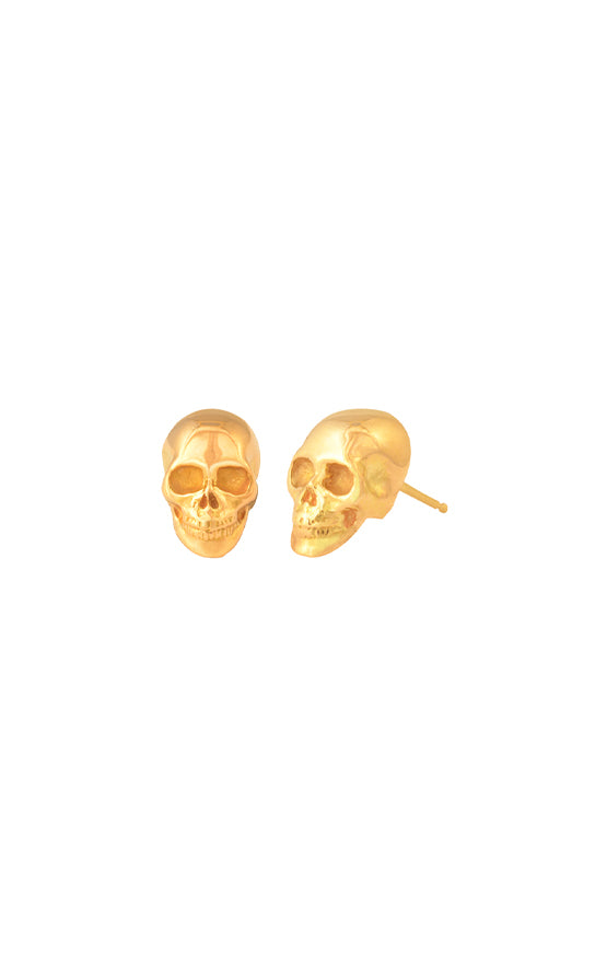 18K Gold Skull Post Earring