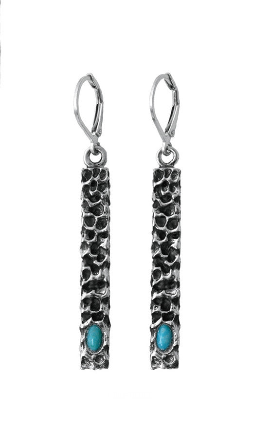 Lava Rock Textured Bar Earrings with Turquoise Stone