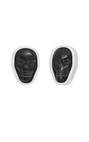 Obsidian Skull Stud Earrings