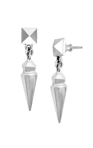 Pyramid Earrings with Geometric Spike Drop