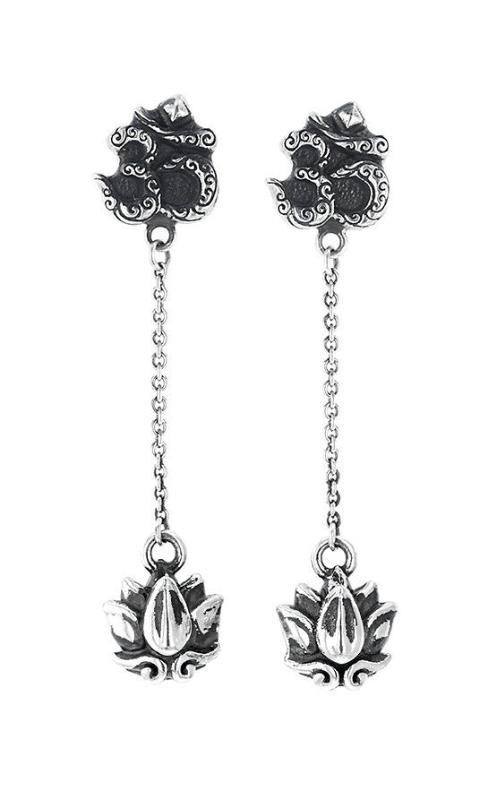 Om Studs and Lotus Drops Earrings