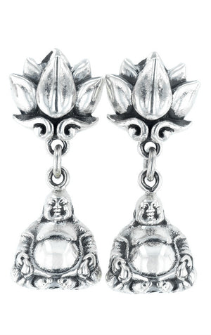 Lotus Stud Earring with Happy Buddha