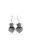 Fine Line Engraved Crowned Heart Earrings