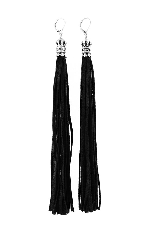 Black Leather and Crown Leverback Earrings