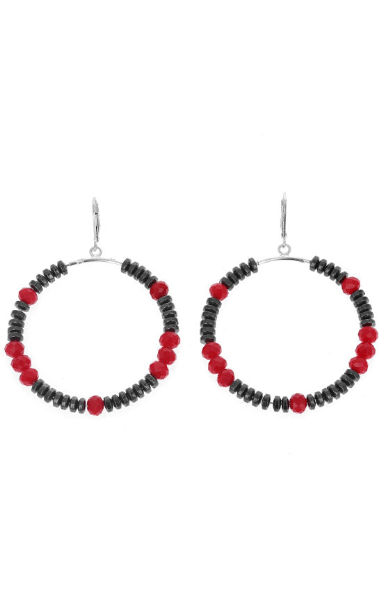 Hematite and Crystal Bead Hoop Earrings
