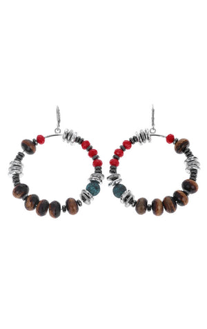 Ceramic, Hematite, Tiger Eye, and Crystal Bead Hoop Earrings