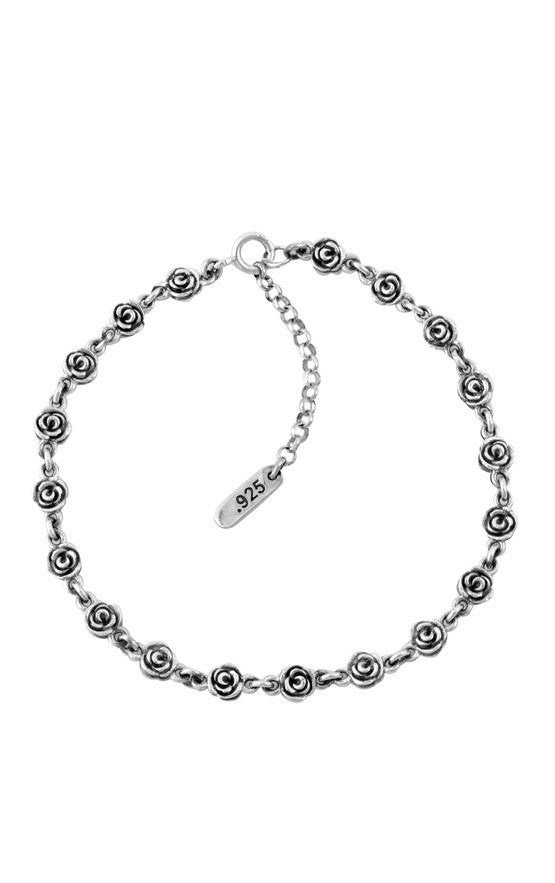 king baby silver rose anklet