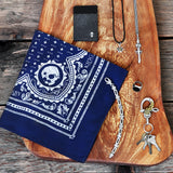 sterling silver jewelry, blue skull print bandana, stingray cardcase wood block