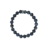 10mm Blue Tiger Eye Beaded Bracelet w/ Logo Ring