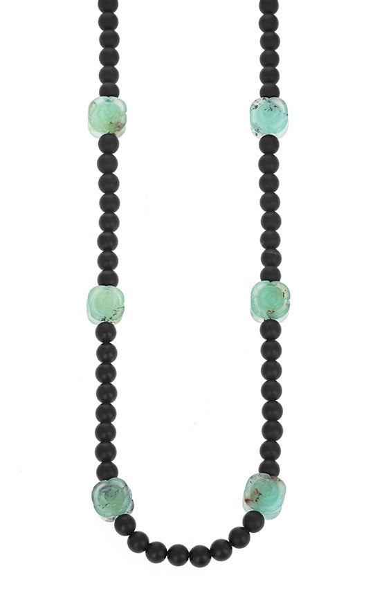 Onyx Necklace with Chrysoprase Rose Beads
