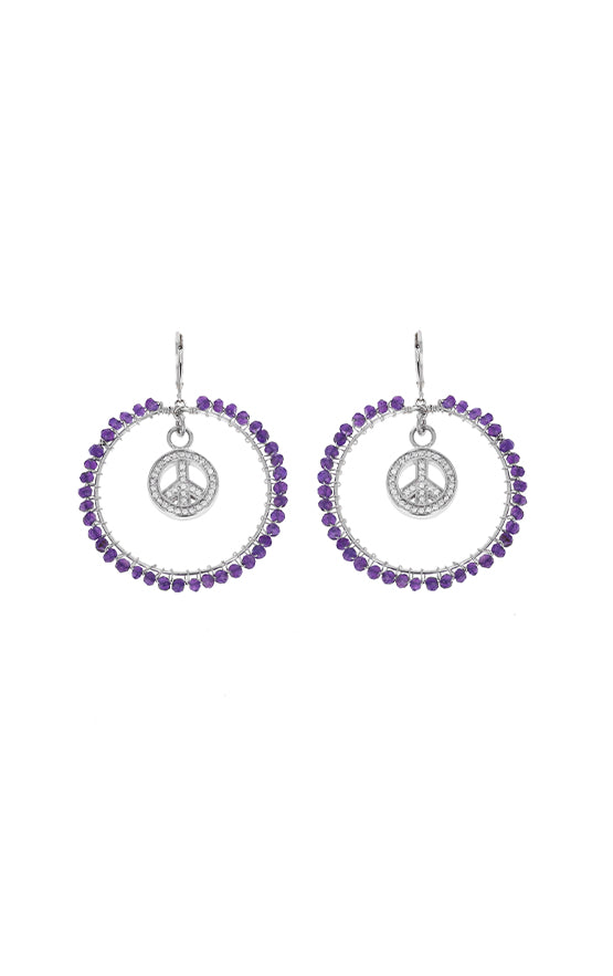 Amethyst Hoop Leverback Earrings with Small CZ Peace Sign