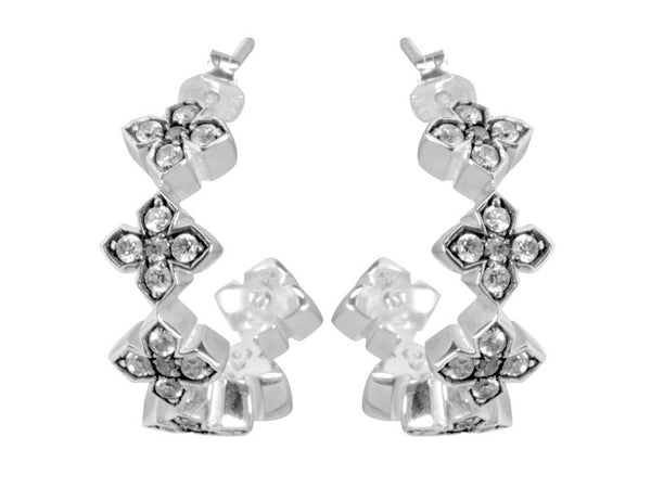 Small Pave CZ MB Cross Hoops-White CZ