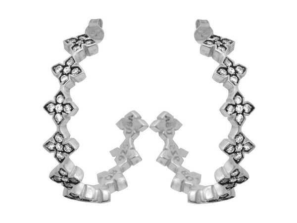 Earrings | Large Pave  CZ MB Cross Hoops - Clear CZ