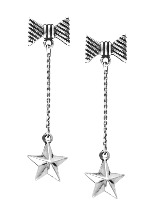Chain Earrings w/ Bow Posts and Star Drops