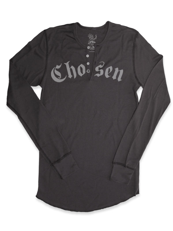 BEL AIR - Grey Henley - Traditional Cross on back + Chosen on the front