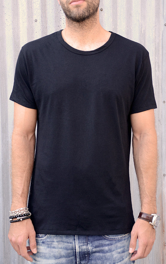 The Ultimate Black Tee with Silver Skull Rivet