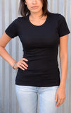 The Ultimate Black Tee with Silver Skull Rivet - Women's