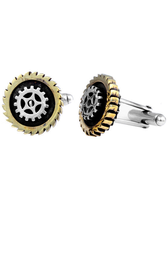 Two-Tone Gear Cufflinks