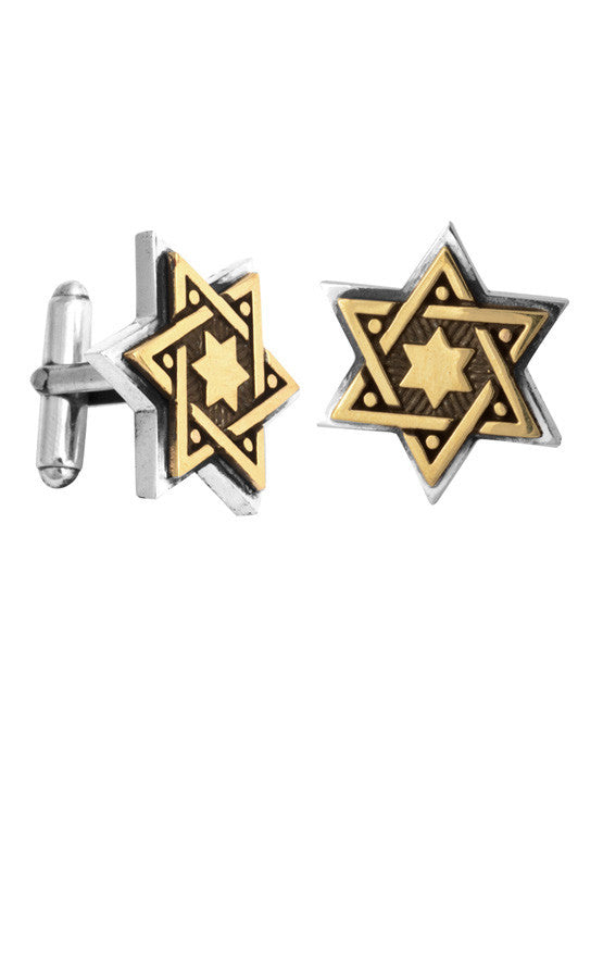 Alloy Star of David in Silver Frame Cufflinks