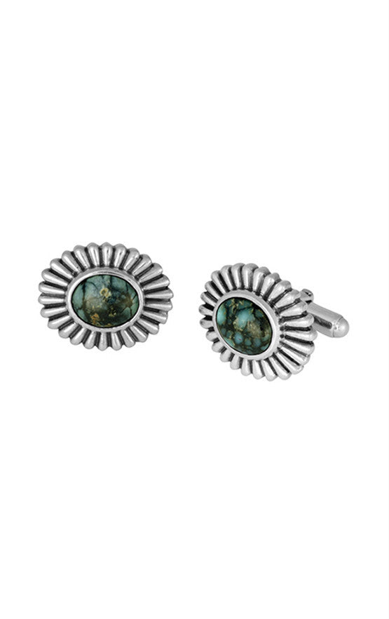 Top Hat Spotted Turquoise Concho Cufflinks