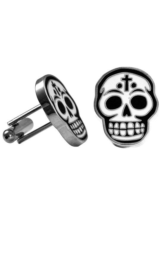 Day of the Dead Black and White Skull Enamel Cufflinks