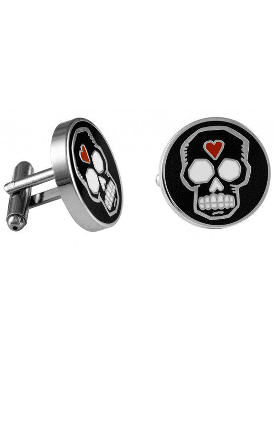 Day of the Dead Black and Red Circle Enamel Cufflinks