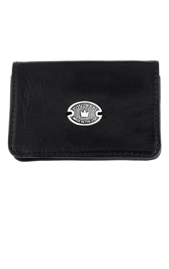 Black Leather Card Holder w/ Oval Logo
