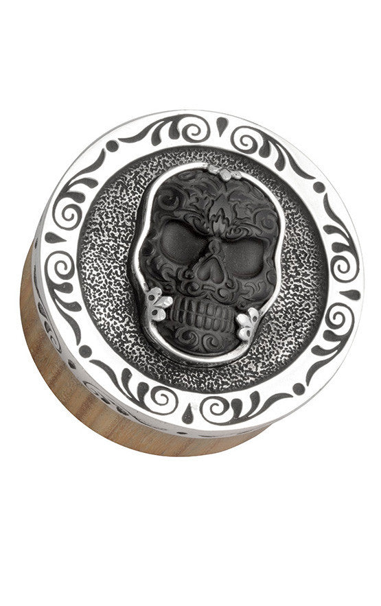 Stash Box w/Silver and Carved Jet Baroque Skull Lid