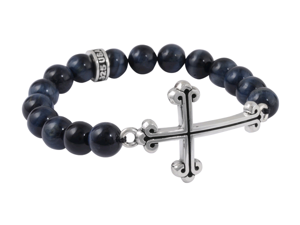 10mm Black Onyx Bead Bracelet w/ Large Curved Traditional Cross