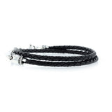 Double Wrap Black Leather Braid Vajra Dagger Clasp Bracelet
