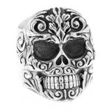 Floral Scroll Relief Skull Ring