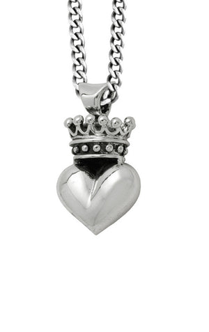 3D Crowned Heart Pendant