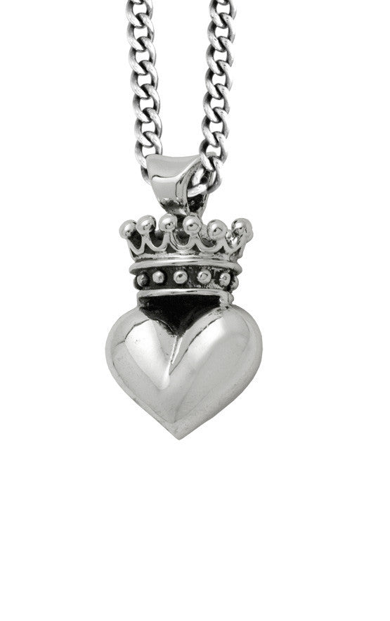 king baby 3d crowned heart necklace