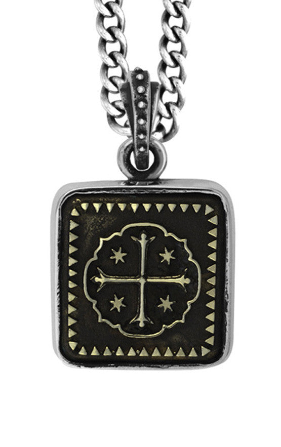 Square Alloy Shipwreck Cross in Silver Frame Pendant