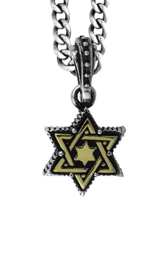 Small Alloy Star of David in Silver Frame Pendant