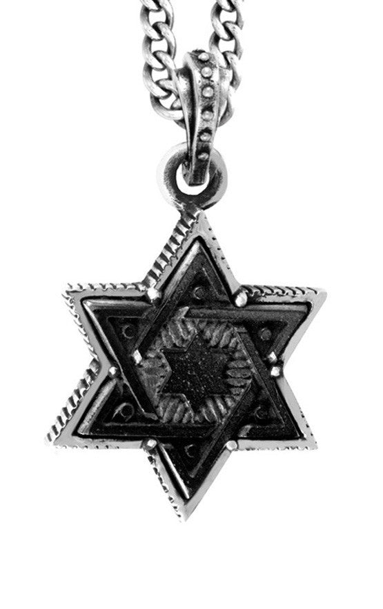 Large Jet Star of David in Silver Frame Pendant