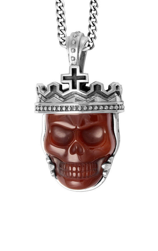 Crowned Red Agate Skull Pendant